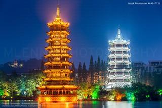 Beautiful Sun and Moon Twin Pagoda Guilin Guangxi China Night