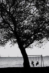 Friends (LNePrZ) Tags: bridge friends sea two tree boys silhouette rio seaside friend friendship silhouettes silouette swing boyhood nafpaktos antirrio silhouetteblack shipismagic