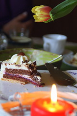 last one ... (evko ...) Tags: light cake last table one candle cerise gateau bougie tort wiśnia ciasto świeczka
