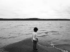 Wave Watching (Phoenix Moore) Tags: blackandwhite lake oklahoma water monochrome toddler ricohgr