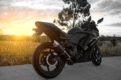 Motorcycle Sunset (Chrishxc01) Tags: street light sunset sky black color bike photography photo ninja sony australia brisbane motorbike moto motorcycle kawasaki may25 ninja250