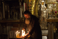 Preparing the Candles, Greek Orthodox Priest at the Greek Orthodox Priest, Church of the Holy Sepulchre (marylea) Tags: history israel site ancient jerusalem christian altar holy historical priest churchoftheholysepulchre crucifixion greekorthodox 2015 may11