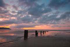 Youghal Strand Sunrise 10-10-2016 (John Holmes (DAJH51)) Tags: cork nikon1635 nikond750 youghal beach groynes ireland longexposure reflections sand sea stream sunrise water