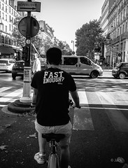 too fast !!! (Jack_from_Paris) Tags: r0002123bw ricoh gr apsc capture nx2 lr monochrom noiretblanc noir et blanc street paris urbain urban vlo bicyclette vlib fast enough