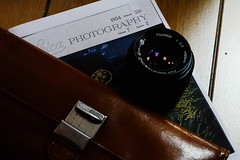 Lens (BAndreoli) Tags: lens fuji photography leica magazine periodic stilllife still wallet floor home indoors windowlight analog fujifilm xe1 analoglens backlight brownandblue industar leather mechanicallens object photographic retro
