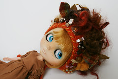 Fall-ish Dreams (elifins) Tags: ooakblythehat blythedoll handmade etsy elifins floralcollage gnomehelmet fall autumn