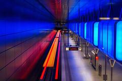 Train to Billstedt (Vionent) Tags: nikon d610 2470 tripod long exposure train station movement subway transportation hamburg u4 hafencity universitt deutschland germany blue red