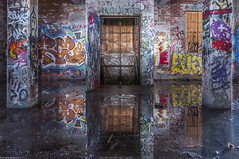The Upside Down (TdotShutterSpy) Tags: upside down abandoned factory puddles reflection long exposure shutter spy shutterspy graffiti toronto urbex urban explore building canada