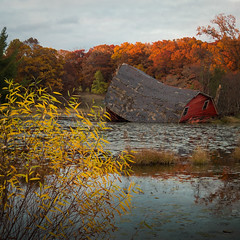 To Everything There is a Season (William Flowers) Tags: barn pond sunset autumn fall leaves change seasonalchange transitions melancholia decay