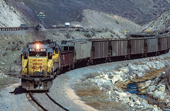 Exiting Wanship Canyon, March 26, 1986 (blair.kooistra) Tags: unionpacific gp30 parkcity webercanyon ogden echo utah utahrailroads branchlinerailroads