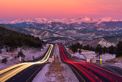 Zoomin' to Rockies (explored) (momentsbyjohn) Tags: sunrise mountains clouds cars traffic snowboard longexposure lighttrails freeway rockymountains scenicview snowcappedmountains cdot evergreen colorado denver rockies cartrails pinkglow snowdust skiseason i70mountaincorridor coldfrostymorning goldcollection