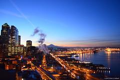 Seattle's Waterfront at Dawn [1296] (Chris S. Collison) Tags: seattle dawn waterfront steam mountrainier steamplant elliottbay skyline pikeplacemarket alaskanwayviaduct