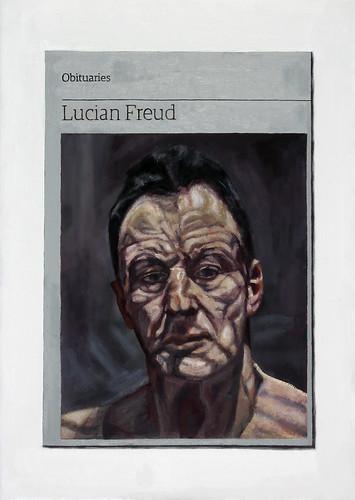Hugh Mendes 'Obituary: Lucian Freud', 2016 Oil on linen 35x25cm