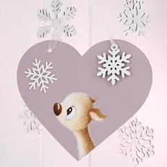 Winter Whispers Christmas dusky pink heart gift (jac.cheekymonkeystudio) Tags: christmas christmasdecoration whimsical cute kidschristmas cutechristmas whimsicalchristmas animals whimiscalanimals deer fawn snowflakes snow
