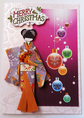 Christmas card 7_2016 (tengds) Tags: christmascard card handmadecard japanesepaperdoll origamidoll ningyo geisha kimono purple white flowers orange obi lightyellow gift nailartsticker nailsticker christmasballs christmasornaments redviolet green pink papercraft tengds
