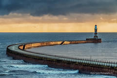 Golden Pier (robinta) Tags: pier lighthouse roker sunderland architecture buildings stone brick historic old landmark seascape sea ocean water clouds sky moody sunlight light shadow warmth color colour vibrant robintaylorphotography sigma18200mmhsmc pentax ks1 landscape