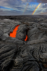 Lavabow (pdxsafariguy) Tags: usa hawaii lava rock geology volcano red black heat molten glow skylight kilauea nationalpark eruption danger hole rainbow clouds rain shower texture tomschwabel
