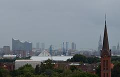 Skyline (Andreas Meese) Tags: hamburg hafen wilhelmsburg nikon d5100 regen rain rainy regentag skyline elbphilharmonie michel fernsehturm wolken clouds wolkig cloudy