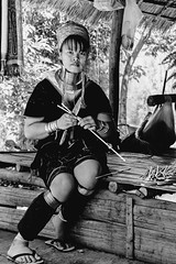 Another Beautiful Padaung Lady (Anoop Negi) Tags: burma thailand karen karin padaung people refugees woman lady girl showcase tourism slavery portrait black white bnw monochrome anoop negi ezee123 chiangmai long neck