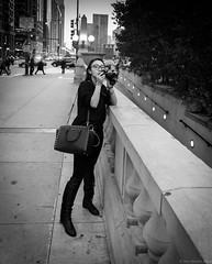 Trump Tourist (piano62) Tags: tourist chicago streetshots streetscenes streetpeople donaldtrump beautifulgirl twistedlogic candidshot nikond750 nikon20mm18g blackandwhite monochrome