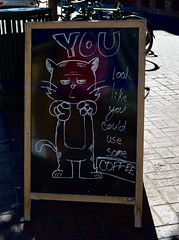 YOU Look Like You Could Use Some Coffee! (Sandra Lee Hall) Tags: sign chalkboard cat saying advertisement coffee downtown city urban boise idaho