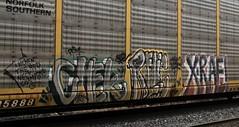 CHEK, RELIC, X-RAE (YardJock) Tags: art car train graffiti steel graf tracks railway holy roller freight rolling autorack rfm