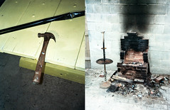 (Jacob Seaton) Tags: philadelphia lamp yellow hammer table fire pipe altar burn stove burnt ash cinderblocks