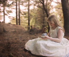 Tea Party for One (Marirolla) Tags: party portrait texture cup forest woods alone tea solitary