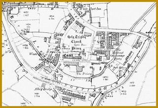 Lenton Holy Trinity Church and Priory - as in 1899 . [Lenton Gate , Nottingham Canal , River Leen , Old Church Street , Priory Street  , White Hart Inn ]