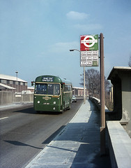 LT RF116 on route 374 passes the Cement wks. at W. Thurrock. 1968. (David Christie 14) Tags: bus lt westthurrock