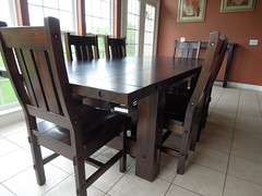 Rustic Timber Table Collection (Brian's Furniture) Tags: wood brown table maple furniture timber top rustic rich smooth bolts custom tobacco thick solid sanded planked
