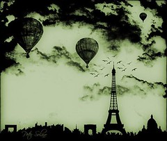 My Paris View (Peter Solano. Pursuing a dream!) Tags: white black paris green birds night balloons freedom flying latoureiffel