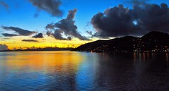 Sunset on Martinique - Antilles - Caribbean (Isabella C. Soniak) Tags: ocean blue light sunset sea panorama mer seascape yellow night clouds reflections french landscape island tramonto mare view martinique hill scenary caribbean atlanticocean creole antilles caraibi martinica martinik