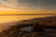 eroded sandcastle (rockmixer) Tags: ocean california sunset beach sand pacific sandcastle sunsetandsunrise