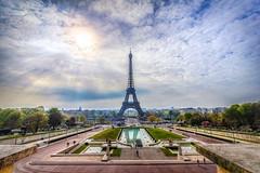 Morning Rays on the Eiffel Tower (Samantha Decker) Tags: paris france photoshop canon geotagged eos europe eiffeltower wideangle adobe toureiffel fr hdr highdynamicrange uwa cs6 550d t2i topazadjust samanthadecker sdeurope canonefs1022mmf3545usmrebel