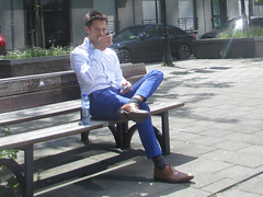 blue trousers and bare leg (fluppes_be) Tags: bulge hotguy sexyman hotbloke sexyguy hotman sexyfeet bareleg sexybloke malelegs nudeleg manfeet hotbulge nudehairyleg hotmalelegs manhotsocks sexybareleg