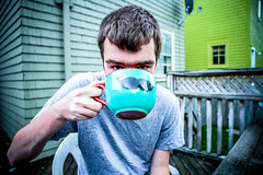 Mustache mugs are the bomb (Corynn F) Tags: summer portrait man dinner outdoors backyard warmth mug mustache halifax shingledhouses