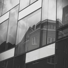 (eflon) Tags: windows bw ny newyork reflection ecology monochrome lines campus square university gray cornell ithaca oldnew bldgs