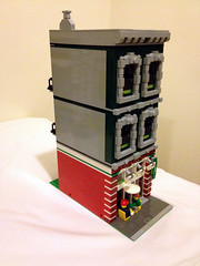 Updated facade of the pizzeria (jskaare) Tags: world city pet house green ice home pool station shop museum bar corner court movie fire restaurant town hall office store cafe theater place post lego cream police grand books palace bookstore pizza creation modular billiards courthouse custom residence pizzeria emporium parlor own grocer brigade precinct shoppe moc