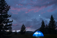 Paint the Sky with Stars (Cat Girl 007) Tags: camping sunset summer sky mountains nature horizontal clouds manipulated landscape outdoors photography colorado scenic stormy rockymountains breckenridge idyllic pinetrees tranquil frisco tistheseason beautyinnature traveldestination peakonecampground