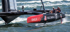 the big boys at play (Robert Couse-Baker) Tags: sanfrancisco sanfranciscobay americascup ggyc thedefender goldengateyachtclub ac72 oracleteamusa wingsailedcatamaran 262meters americascup72class sailboathydrofoil