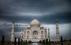 Before the storm... (kishorelala) Tags: travel blue sky india storm tourism monument beautiful rain clouds canon dark awesome tomb taj mahal agra pradesh uttar 1100d