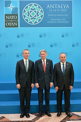 Official greeting by the NATO Secretary General and the Minister of Foreign Affairs of Turkey followed by the Family photo (NATO) Tags: turkey mfa antalya nato foreignminister jensstoltenberg cavusoglu