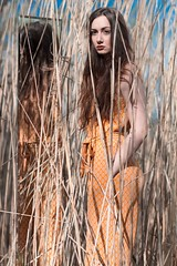 Mirror of Nature (Amelie Satzger) Tags: brown lake reed girl hair photography mirror flickr