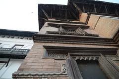 Woodwork adornating the façade of Basantapur Durbar