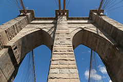 Brooklyn Bridge - New York City (USA) (Meteorry) Tags: newyorkcity bridge sky usa newyork brooklyn america unitedstates suspension manhattan unitedstatesofamerica towers ciel cables brooklynbridge eastriver granite limestone april pont empirestate neogothic pillars 2015 meteorry rosendalecement