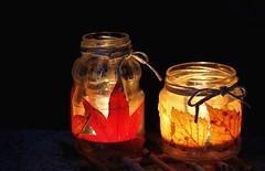 Dolce atmosfera! (fata_ci) Tags: luce candeline portathealight faidate lavoretti vasetti autunno foglie riciclo