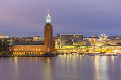Stockholm City Hall (Stefan Sjogren) Tags: stockholm capital sweden malaren lake bay sea royal stadshus city hall tower three crowns skyline europe uppland scandinavia morning night canon eos 6d dslr venice north