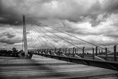 Base note (John Getchel Photography) Tags: bagleypedestrianbridge bridge detroit michigan blackandwhite cablestaybridge unitedstates us