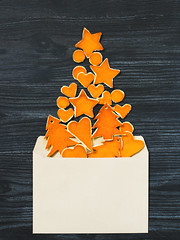 Christmas mock up with envelope (Olga_Z1982) Tags: background christmas table star new year tree orange wooden greeting heart skin gray holiday decorative figures paper snowflakes card blank white mock up envelope